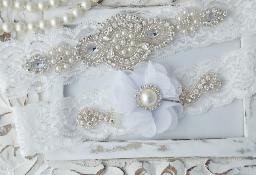 زفاف - Wedding Garter Set Bridal Garter Set Keepsake Garter and Toss Garter Crystal  Pearl Garter  Flower Garter Wedding Garder Bridal Garder Set