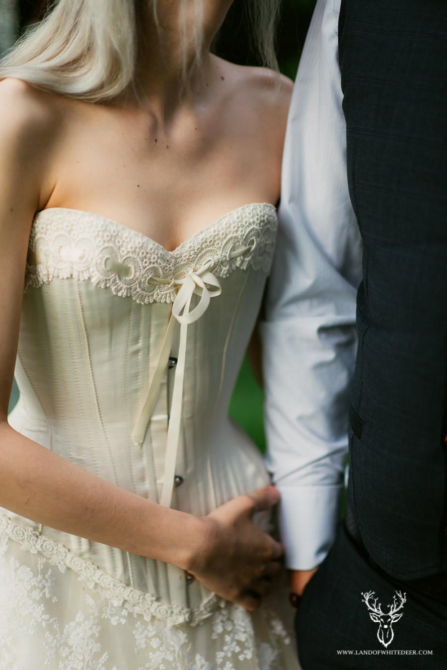 Wedding - Handmade Cream Satin Wedding Corset