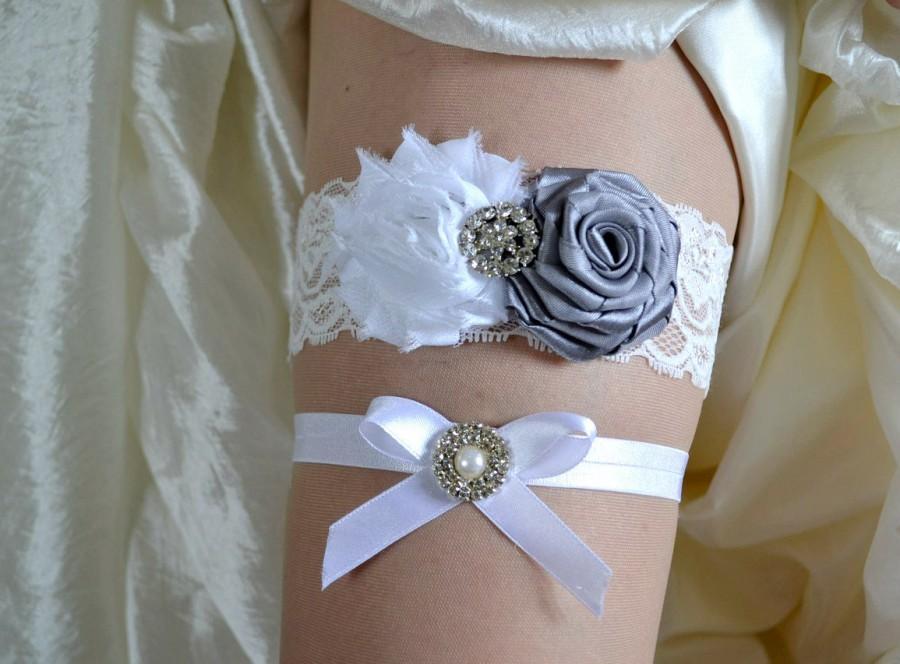 Wedding - Beautiful Grey and White Bridal Garter Set - Grey Keepsake, Wedding Garter - Chiffon Flower Rhinestone Lace Garters - Vintage Garter.