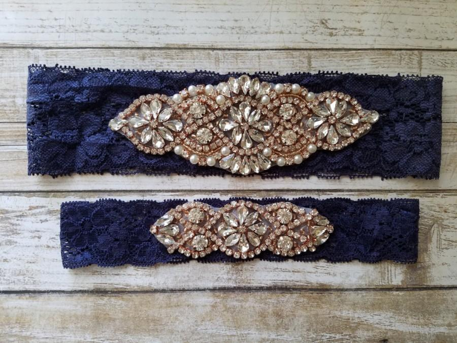 Mariage - Sale -Wedding Garter and Toss Garter-Crystal Rhinestone with Rose Gold Details - Navy Blue Lace - Style G20903RGNV