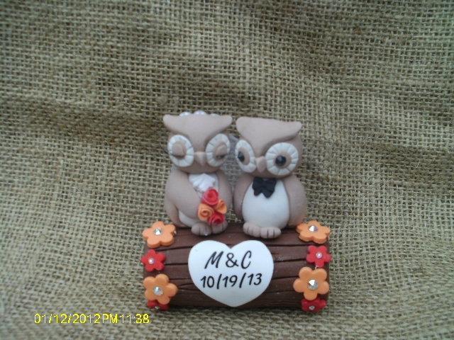 Hochzeit - Wedding owls on a log cake topper