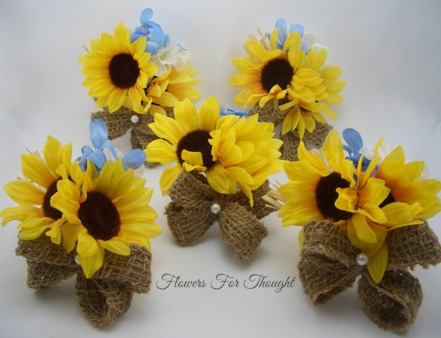 Rustic sunflower burlap corsages yellow blue silk flowers spring rustic sunflower burlap corsages yellow blue silk flowers spring summer fall wedding bridal party favor fft original made to order mightylinksfo