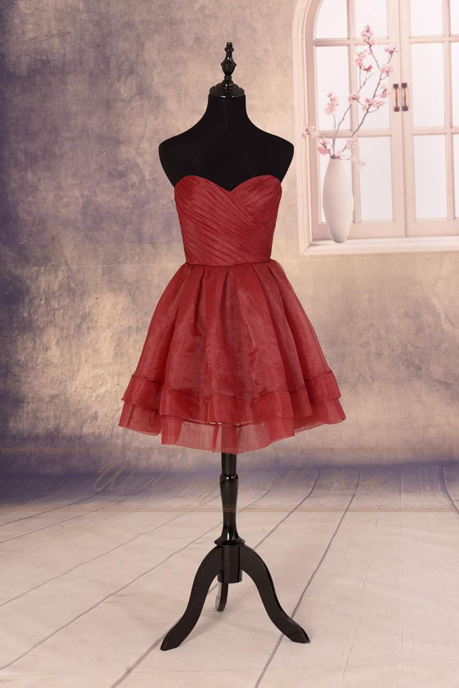 Mariage - Burgundy Short Prom Dress,Short Bridesmaid Dress,Pleated Organza Simple Dress