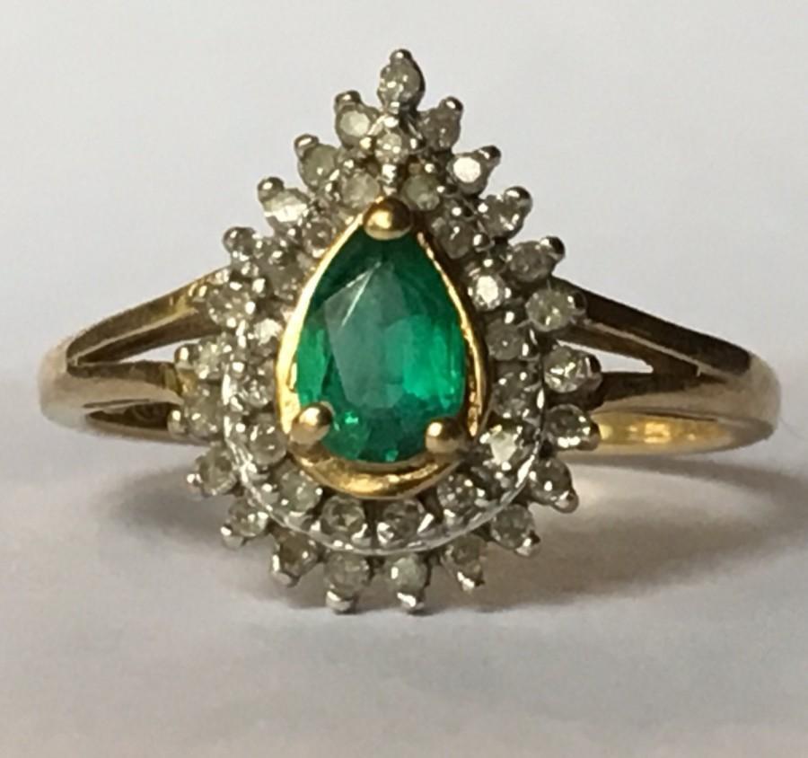 Antique Emerald Ring Diamond Halo 10K Gold Natural Emerald