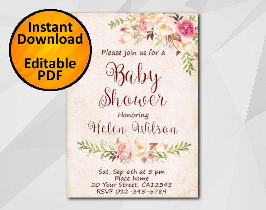 Lovely Editable Baby Shower Invitation, Watercolor Invitation, Instant Download  Diy Wedding, Etsy Baby Shower Invitation XB302p 1
