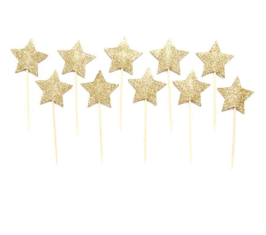 12 Gold Glitter Star Cupcake Toppers