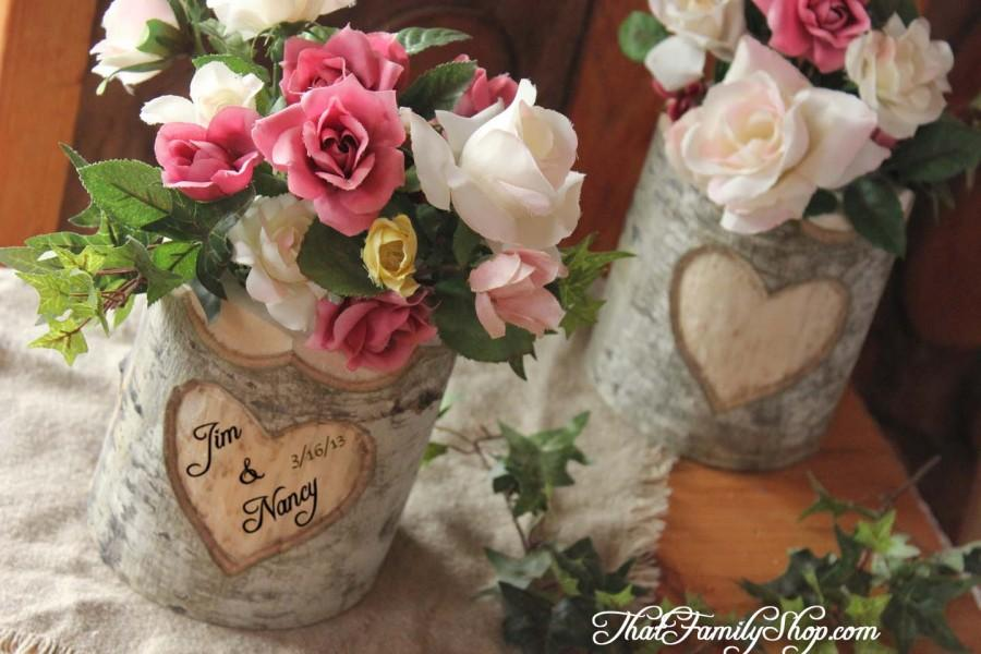 Weddbook & Rustic Wedding Log Flower Vase With YOUR Names/date ...