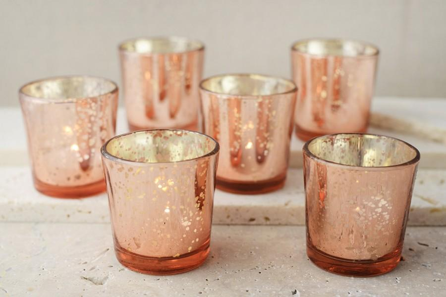 30 rose gold mercury blush glass votive candle holders bulk lot wedding pink lighting ceremony. Black Bedroom Furniture Sets. Home Design Ideas