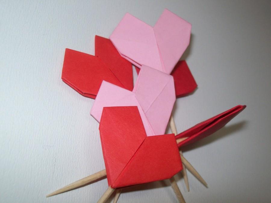Свадьба - wedding origami heart cupcake topper, Set of 50 heart cupcake topper, origami heart, wedding origami, wedding heart, cupcake topper, decor