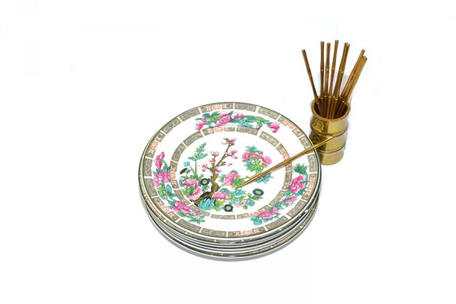 Свадьба - Vintage Bamboo Cocktail Picks Brass Bamboo Cocktail Pick Set Gold Bamboo Spears Indian Tree Saucer Plates