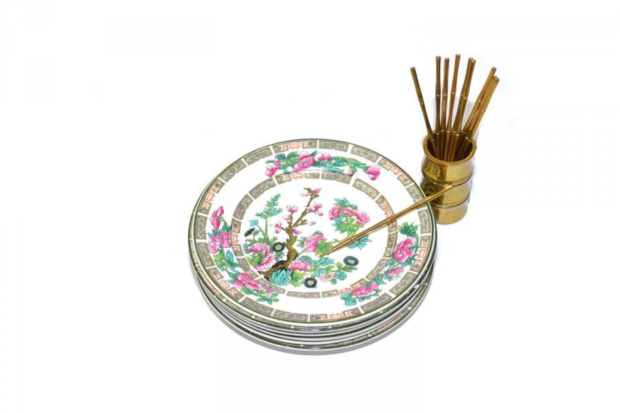 Wedding - Vintage Bamboo Cocktail Picks Brass Bamboo Cocktail Pick Set Gold Bamboo Spears Indian Tree Saucer Plates