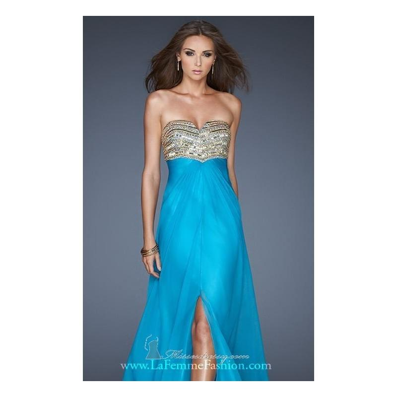 Mariage - Tropical Turquoise Back Tie Detailed Gown by La Femme - Color Your Classy Wardrobe