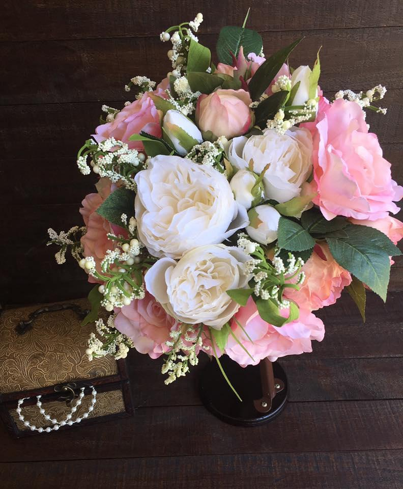 Spring Wedding Flowers Pictures: Pink And White SILK BOUQUET