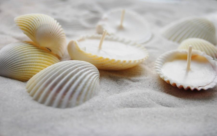 Свадьба - Eco-friendly Candles Scented Hand Made Seashells Candles - Set Of 36 units, Soy Wax Candles, Scented Candles Set - Beach Wedding Favor Decor