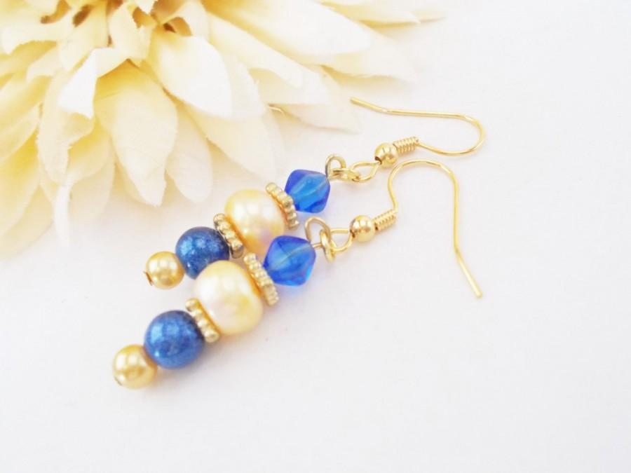 Ivory Freshwater Pearl Earrings Sky Blue Beaded Gold Drop Clip On Wedding Bridesmaids Gift Nickel Free