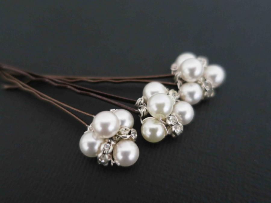 Wedding - Bridal Hair Pins, Pearl Headpiece, Wedding Hair Clip, Bridal Hair Accessories, Wedding Hair Jewelry, Swarovski Pearl, Crystal, Small