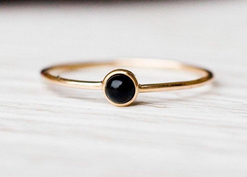 14k Gold Black Onyx Ring February Birthstone Natural Gemstone Anniversary Gift For Her Birthday Simple And Minimalistic Jewelry