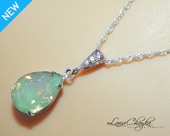 Hochzeit - Chrysolite Green Opal Necklace Sterling Silver CZ Green Opal Necklace Swarovski Rhinestone Opal Teardrop Necklace Bridesmaid Wedding Jewelry