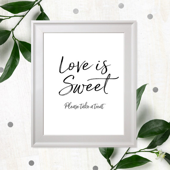 Mariage - Rustic Chic Love is Sweet Sign-Take a Treat Sign-Dessert Table Printable Sign-DIY Wedding Refreshment Sign-Candy Buffet Hand Lettered Sign