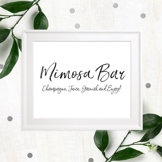 زفاف - Mimosa Bar Sign Printable-Bubbly Bar Sign-Wedding DIY Cocktail Bar-Stylish Hand Lettered Script Sign-Personalized Rustic Chic Bar Sign