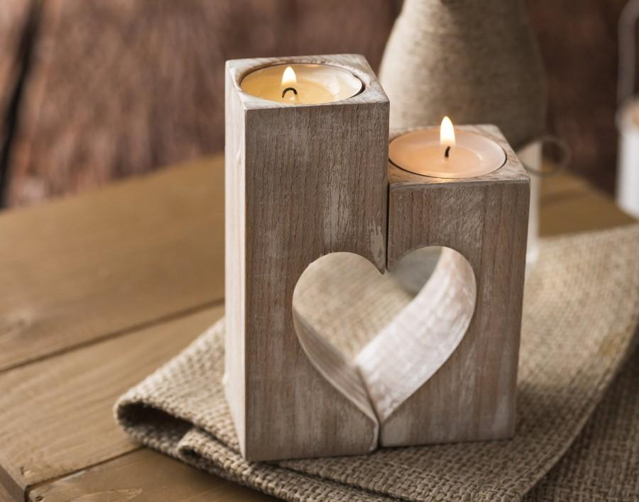 Mariage - Wooden candle holders, Rustic heart candle holders, Decorative candle holder, Valentine's day gift ideas, Birthday gift, Wedding Decorations