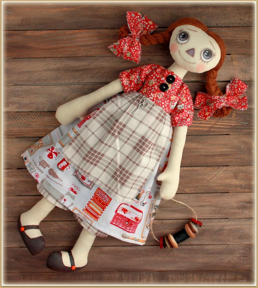 زفاف - Primitive Raggedy Doll  seamstress Gabi  fabric soft doll rag doll cloth doll handmade doll