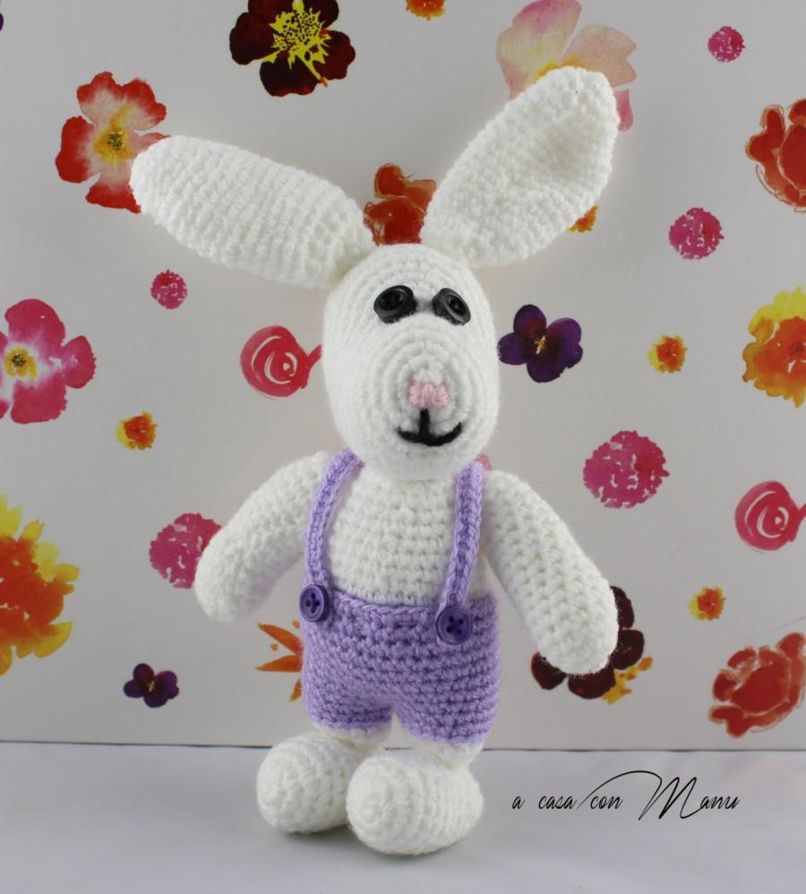 Mariage - Coniglietto giocattolo a uncinetto, toy bunny crocheted, coniglietto di Pasqua, regalo bambino, peluche coniglio, handmade, made in Italy