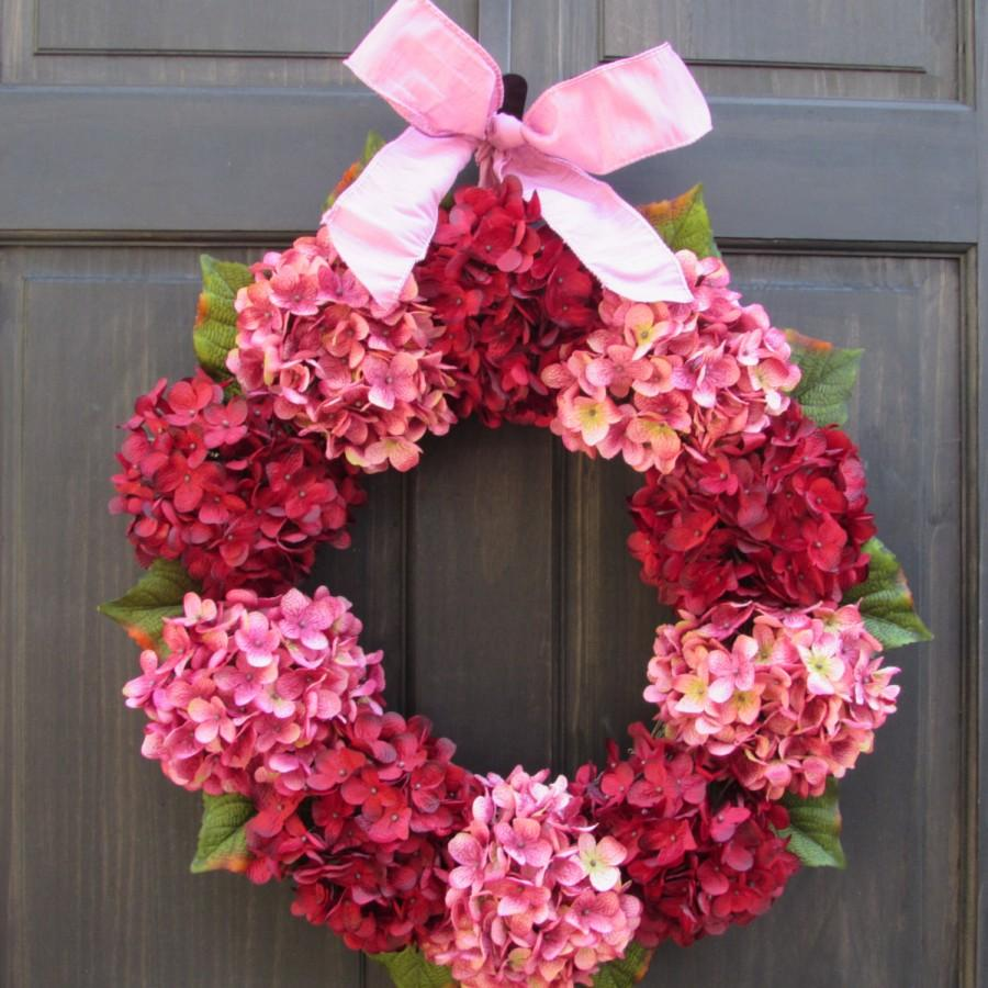 Valentine Wreath Red Pink Hydrangea Wreath For Valentines Day