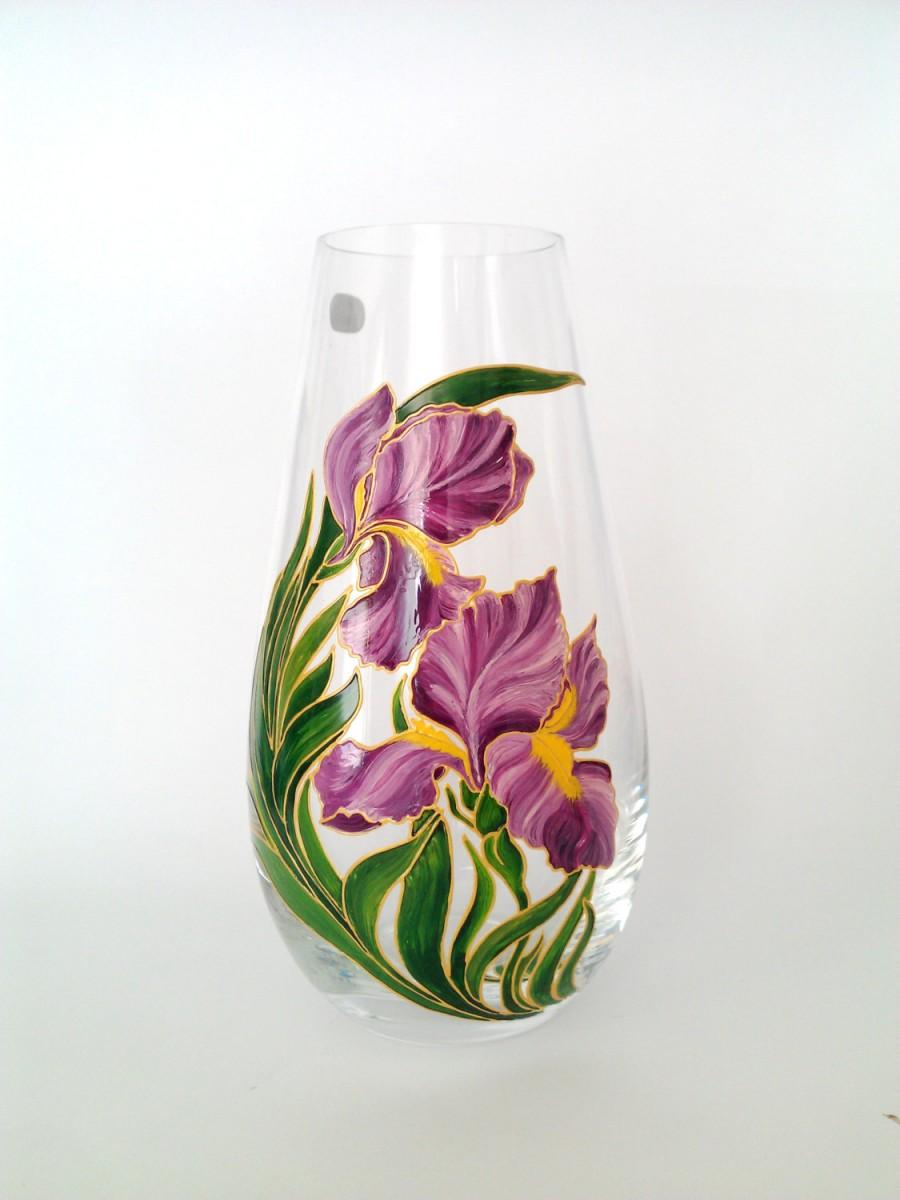 Mariage - Mom Gift Hand Painted Flower Vase Living Room Decor Gift for sister Bohemia Crystal Floral Glass Home Decor Table Centerpiece Purple Irises