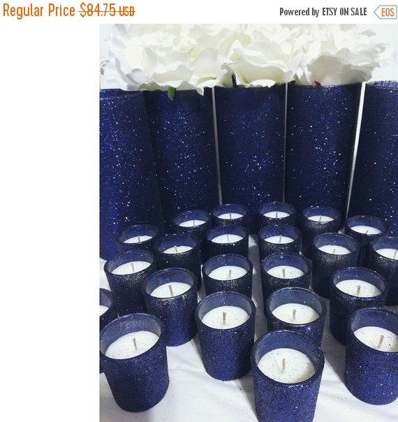 On sale navy wedding centerpiece navy wedding for Midnight blue centerpieces