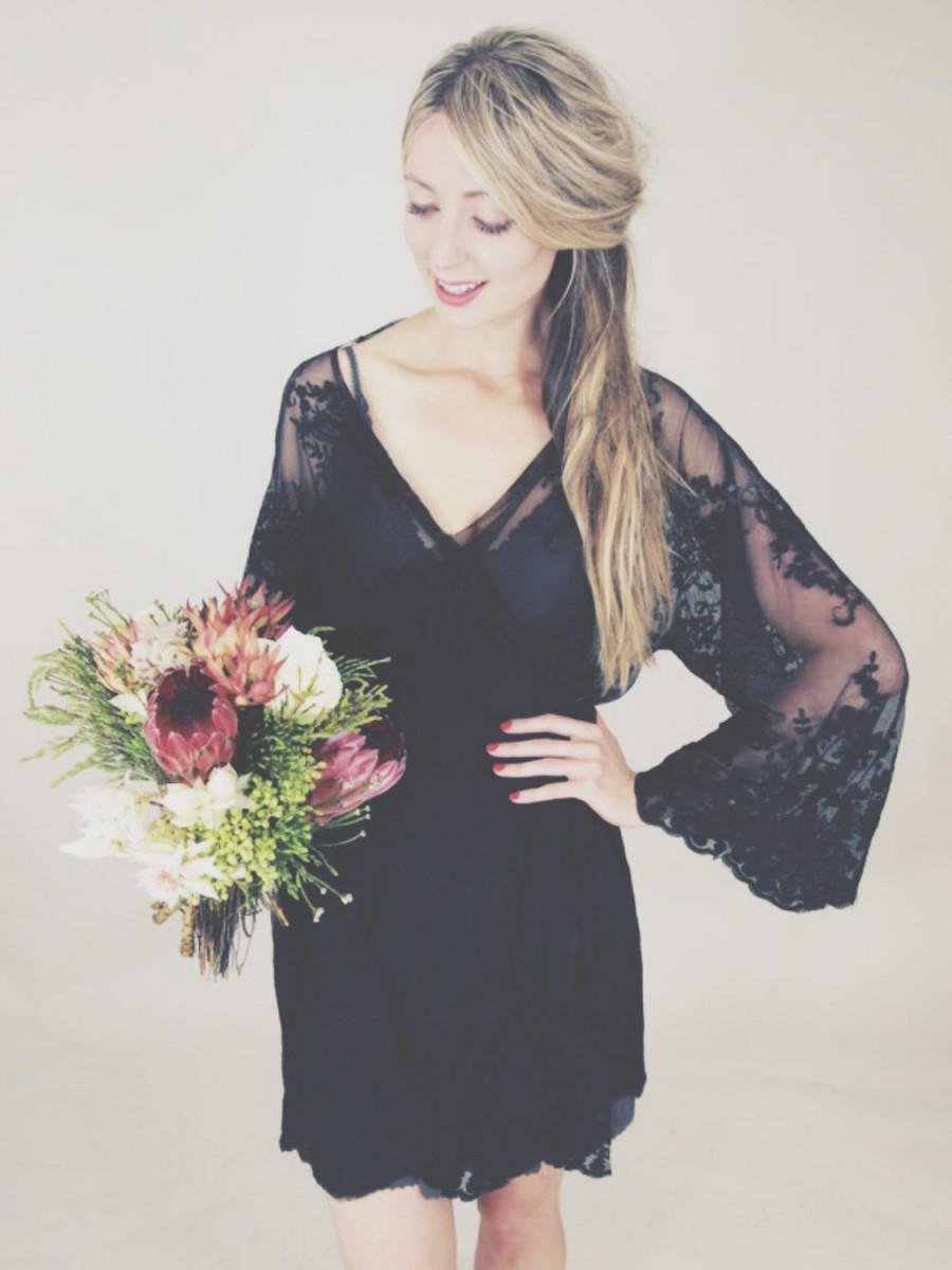 Mariage - HELENA  Black guipiere lace kimono - getting ready bridal kimono, wedding day, lingerie, trousseau, honeymoon, wedding lingerie