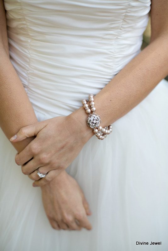 زفاف - Bridal Pearl Bracelet,Champagne Pearl Bridal Bracelet,Rose Bracelet,Rhinestone Pearl Wedding Bracelet,Bridal Wedding Jewelry,Rose,Roselani