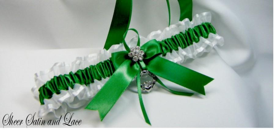 Wedding - Irish claddaugh Emerald Irish Wedding garters Toss Garter