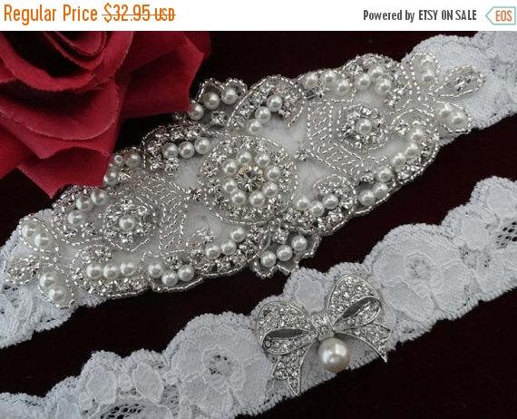 Wedding - White Garter - Ivory Wedding Garter - Bridal Garter Set - Crystal Garter - Bride Accessory Lace Beaded  Accessories Jewelry Garters