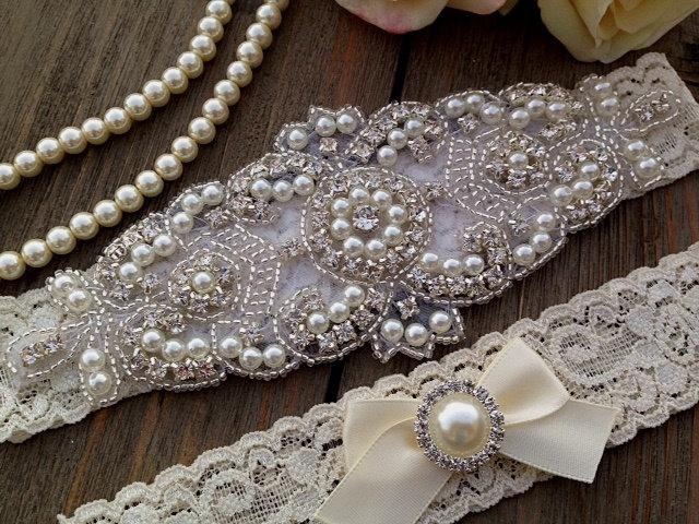 Свадьба - Wedding Garter SET - Bridal Garter - Pearl and Crystal Rhinestone Garter and Toss Garter Set