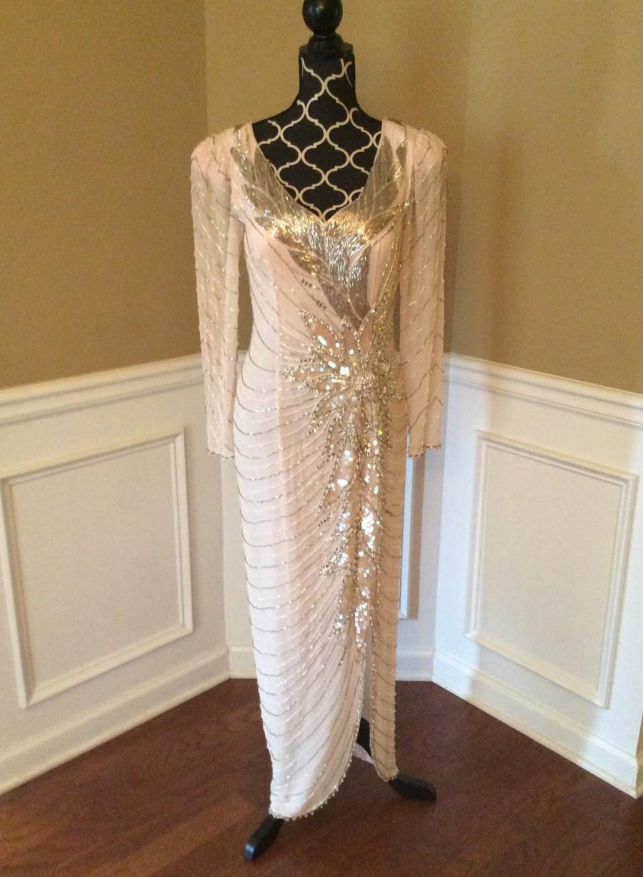Wedding - Pink beaded dress/ Oleg Cassini/ Blacktie collection/ size8/10 / formal dress / prom dress/ backless / pink and silver dress/ formal wear/