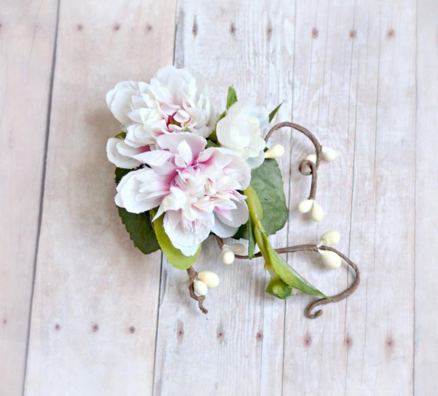 Mariage - Pink hair clip, woodland berry clip, floral hair clip, wedding hair accessory - Fleurette