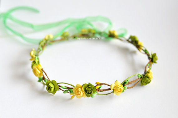 Mariage - Green and yellow flower crown - wedding hair accessories - Flower girl crown - green floral crown - yellow hairpiece - green halo adult