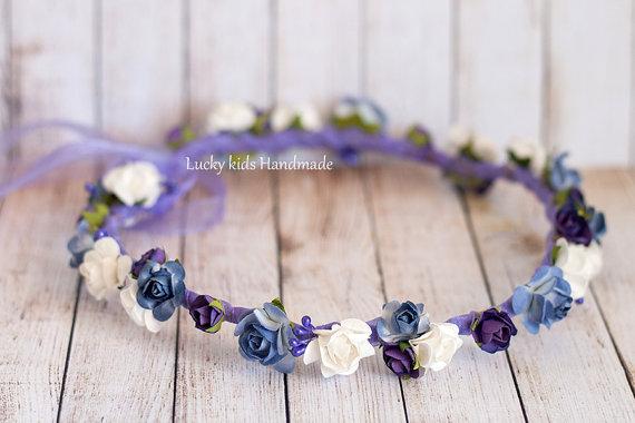 Hochzeit - Plum flower crown, Wedding hair wreath, Wedding flower crown, Purple floral crown, plum floral headpiece, Wedding halo, Flower girl