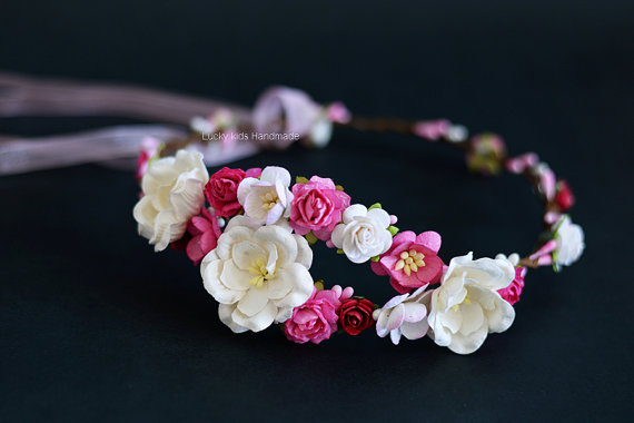 Mariage - White and hot pink flower crown - Wedding flower crown - Hot pink white roses hair wreath - Pink wedding floral halo - Boho crown - Flowers
