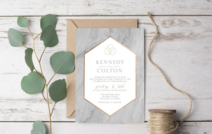 Wedding - Marble Modern Wedding Invitation Template Printable Rustic - Geometric Copper, Gold, Bronze Grey Granite Set Suite Casual Vintage DIY (1132)