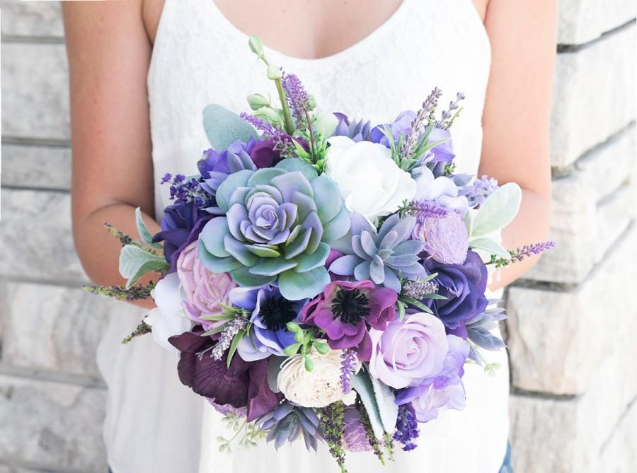 Свадьба - Lush Plum Purple Lilac Wedding Succulent, Anemones and Sprays Silk Flower Bride Fall Rustic Bouquet