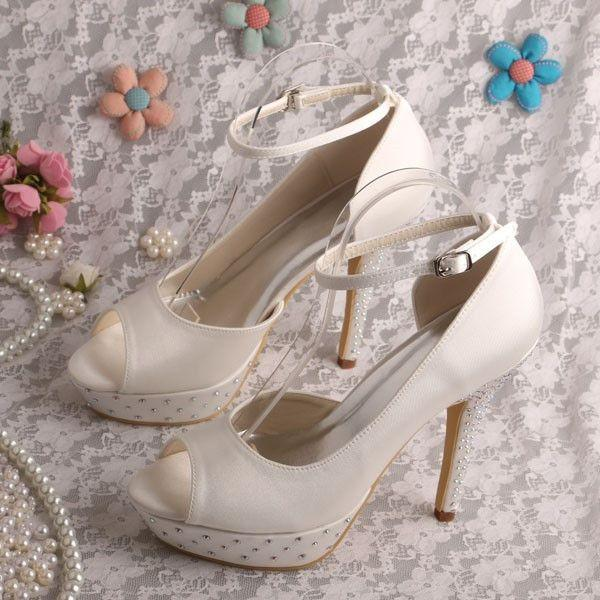 Wedding - High Heel Wedding Shoes Bridal Sandals Criss Cross Ankle Strap Bridal Heels