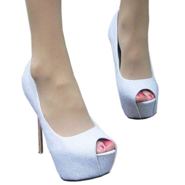 زفاف - Sexy Peep-toe Super High Thin Heel Wedding Shoes White