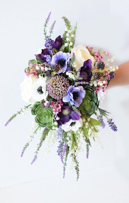 Amazing Cascade Plum Purple Lilac Wedding Succulent Anemones And