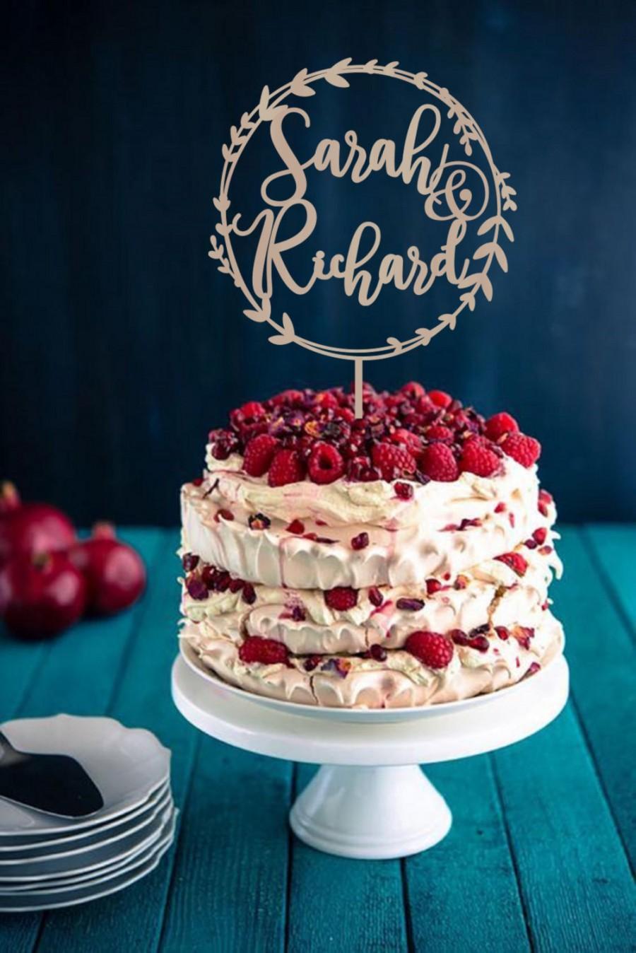 Свадьба - Wedding Cake Topper Wreath Names Rustic Cake Topper   Wedding Initial Cake topper   Wooden Cake Topper Silver Gold