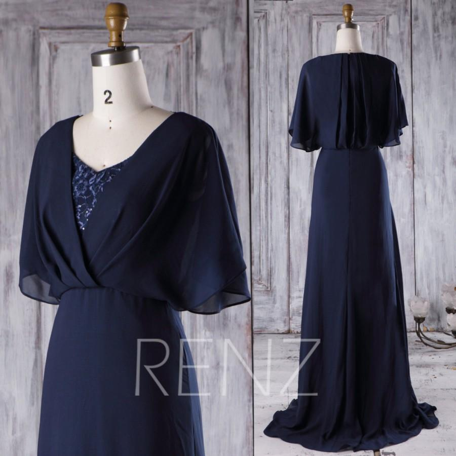2016 Navy Chiffon Bridesmaid Dress With Lace, V Neck Wedding Dress ...