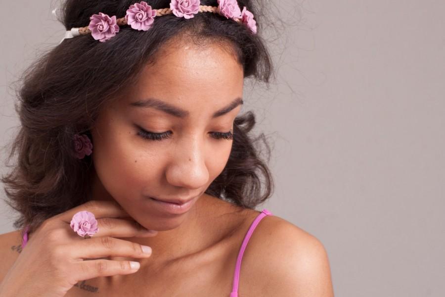 Mariage - Wedding jewelry set/Polymer Clay Accessories/Wedding earrings/Polymer Clay Roses/Wedding ring/Clay Earrings/Wedding Headband/Pink Ring