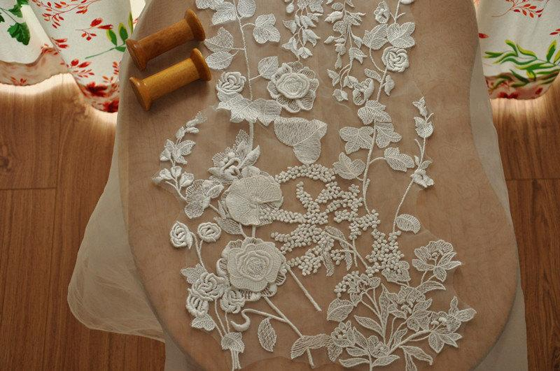 Wedding - Beautiful 3D venice lace applique for bridal gown, wedding dress straps