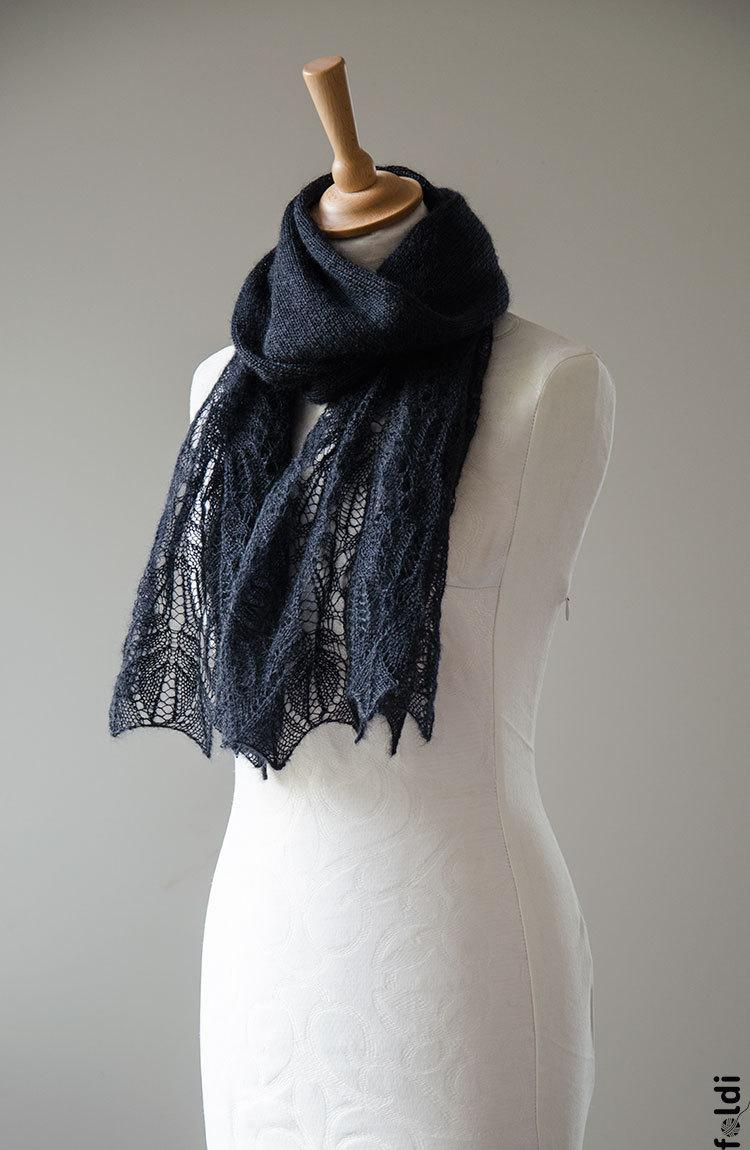 Mariage - Knitted lace scarf, silk and mohair lace scarf, lace stole, shawl in black colour 'Panna'